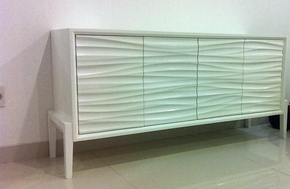 Dinding3D digunakan untuk membuat lemari credenza (proyek Mr Arif)